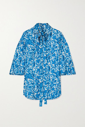 Valentino Pussy-bow Printed Silk-twill Blouse - Blue