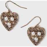 Dorothy Perkins Womens Filigree Heart Drop Earrings- Cream