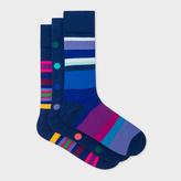 Paul Smith Men's Navy Mixed-Stripe And Polka Dot Socks Three Pack