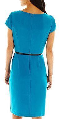 JCPenney 9 & Co.® Waist-Detail Peplum Dress