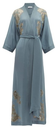 Carine Gilson Lace-trimmed Silk Robe - Womens - Blue