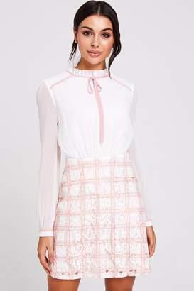 Paper Dolls Rochelle Blush Lace Check Shift Dress