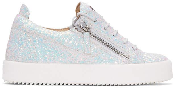 Giuseppe Zanotti White Glitter May London Sneakers