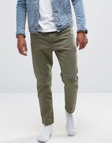 Pull&Bear Slim Fit Distressed Chinos In Khaki