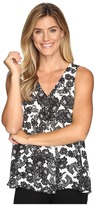 Vince Camuto Sleeveless Festive Lace Drape Front Blouse