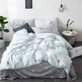 BuLuTu Love Print Pattern Cotton Twin Kids Duvet Cover Sets Reversible Fresh Heart Bedding Cover Sets For Boys Girls Hidden Zipper Closure With 4 Corner Ties (No Comforter)