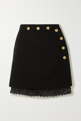 Givenchy Lace-trimmed Button-embellished Wool Mini Skirt - Black