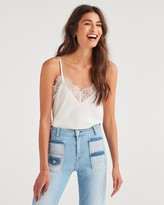7 For All Mankind 7fam7 Lace Trim Cami in Chalk