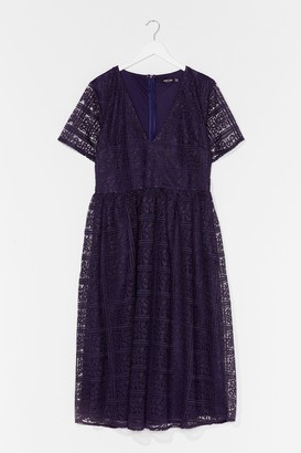 Nasty Gal Womens Lace Make Up Our Mind Plus Midi Dress - Navy - 16