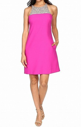 Aidan Mattox Aidan Women's Crepe a Line Shift Cocktail Dress with Beaded Necklace Detail