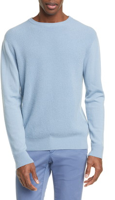 eidos Trim Fit Waffle Knit Cashmere Crewneck Sweater