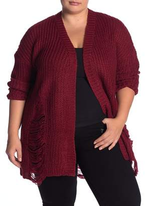 Planet Gold Distressed Knit Cardigan (Plus Size)