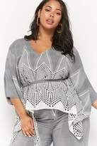 Forever 21 Plus Size Striped Geo Print Top
