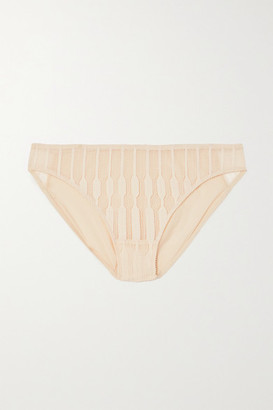 Eres Ebene Leavers Lace-trimmed Stretch-jersey Briefs - Ivory