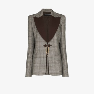 House of Holland Contrast Lapel Checked Wool Blazer