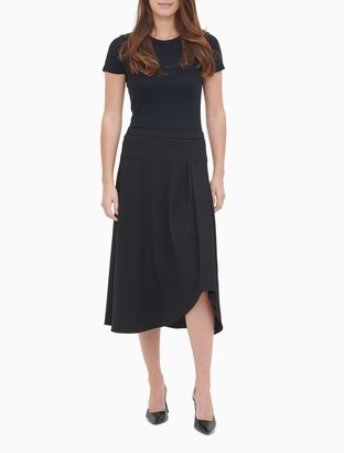Calvin Klein Scuba Crepe Pleated High-Low Skirt