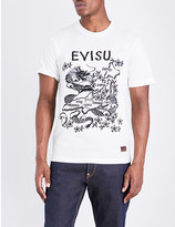 Evisu Dragon-embroidered cotton-jersey T-shirt