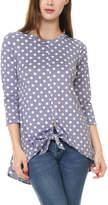 Celeste Women's Tunics LAVENDER - Lavender Dot Tie-Hem Three-Quarter Sleeve Top - Plus