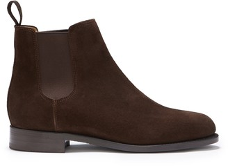 Hugs & Co Womens Brown Suede Chelsea Boots Welted Leather Sole