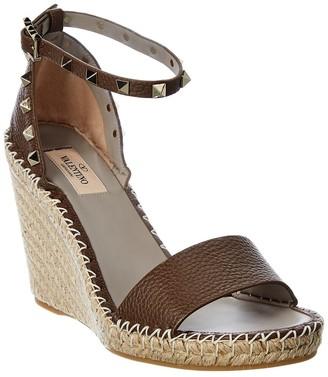 Valentino Rockstud 100 Leather Wedge Sandal
