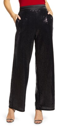 Gibson X Glam Tara Wide Leg Sequin Pants