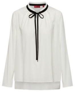 HUGO BOSS Long Sleeved Top With Contrast Tie Up Detail - White