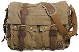 Mcmola Men's Vintage Canvas and Leather Satchel Military Shoulder, Messenger Bag