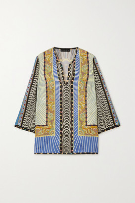 Etro Printed Floral-jacquard Blouse - Light blue