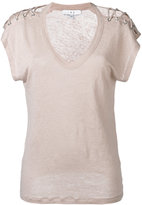 IRO lace-up T-shirt - women - Linen/Flax - S