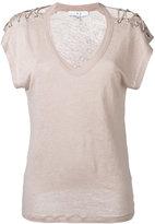 IRO lace-up T-shirt - women - Linen/Flax - XS