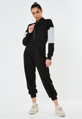 Missguided Black Colourblock Zip Front Jumpsuit