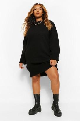boohoo Plus Oversized Slouchy Knitted Midi Dress