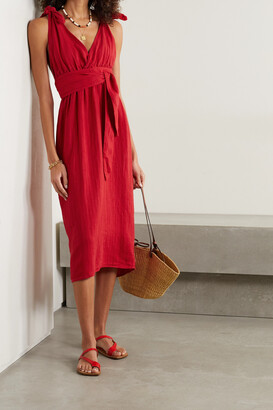 Mara Hoffman - Calypso Belted Striped Linen And Tencel Lyocell-blend Midi Dress - Red