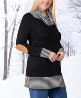 Celeste Black & Gray Elbow Patch Cowl Neck Tunic - Plus