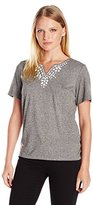 Alfred Dunner Women's Petite Beaded Knit Top with Side Rouche
