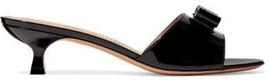 Salvatore Ferragamo Ginostra Bow-embellished Patent-leather Mules - Black