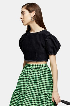 Topshop Washed Black Denim Puff Sleeve Crop Top