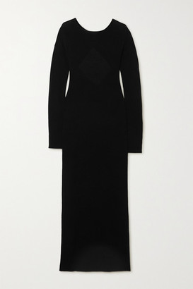 Helmut Lang Twisted Open-back Wool Maxi Dress - Black