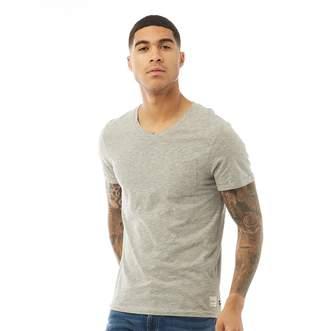 Melange Home Produkt PRODUKT Mens Slub V-Neck T-Shirt Light Grey