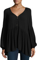 Knot Sisters Carmen Button-Front Blouse, Black
