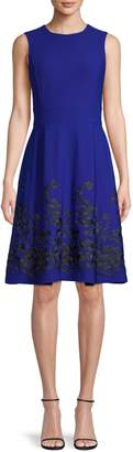 Calvin Klein Embroidered Fit-and-Flare Dress