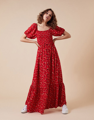 Monsoon Mandi Ditsy Floral Maxi Dress Red