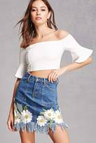 Forever 21 FOREVER 21+ Daisy Embroidered Denim Skirt
