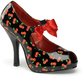 Pleaser USA Black & Red Cherry Bow Pump