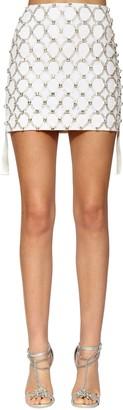 Azzaro Embellished Wool Twill Mini Skirt