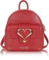 Love Moschino Eco Leather Backpack w/Heart Buckle