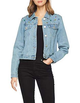 Glamorous Women's Embellished Denim Jacket Jean Jacket Long Sleeve Denim Jacket,(Manufacturer Size:)