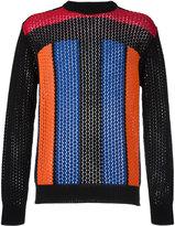 Balmain striped pointelle jumper