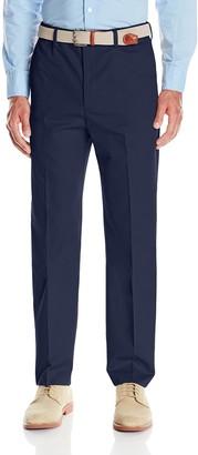 Savane Men's Straight-Fit Flat-Front Comfort-Waist Khaki Dress Pant