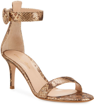 Gianvito Rossi Portofino 70mm Metallic Ankle-Wrap Sandals